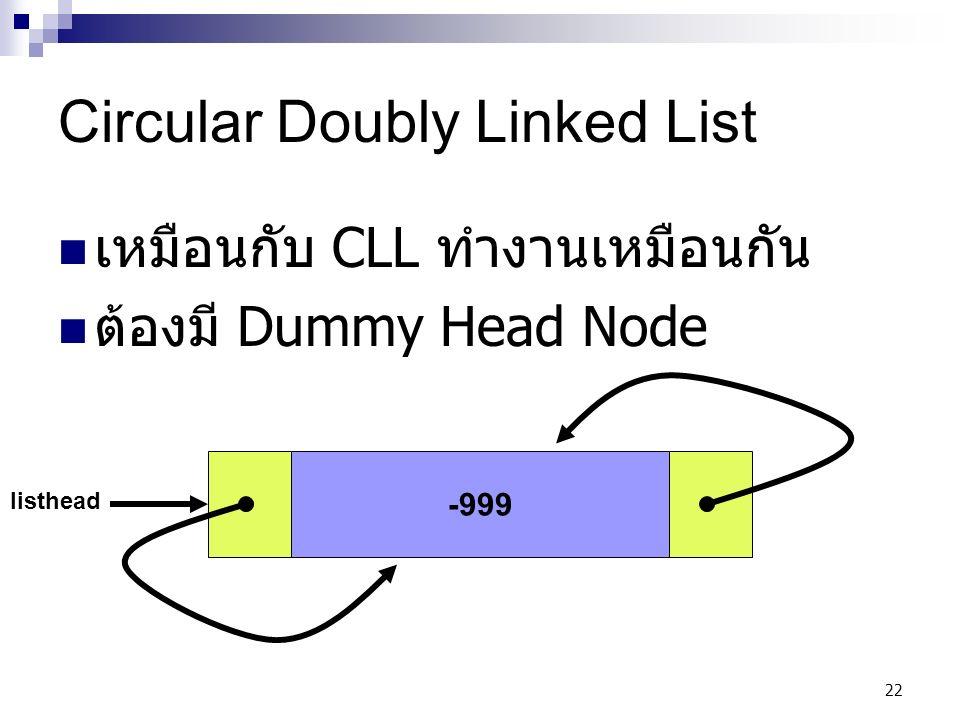 22 Circular Doubly Linked List เหมือนกับ CLL ทำงานเหมือนกัน ต้องมี Dummy Head Node -999 listhead