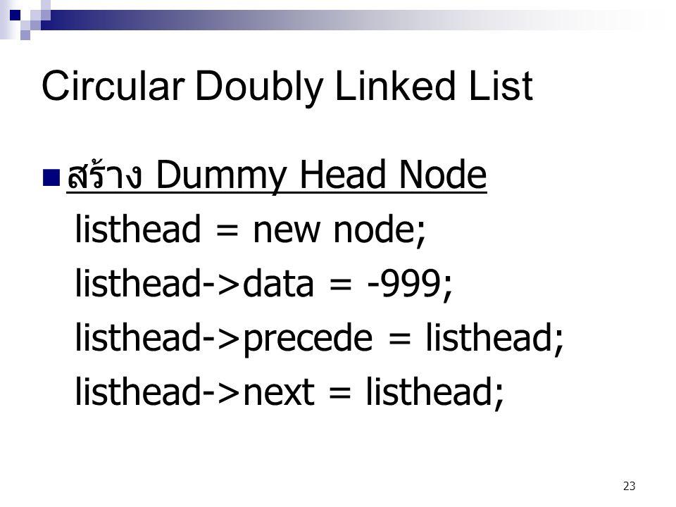23 Circular Doubly Linked List สร้าง Dummy Head Node listhead = new node; listhead->data = -999; listhead->precede = listhead; listhead->next = listhead;