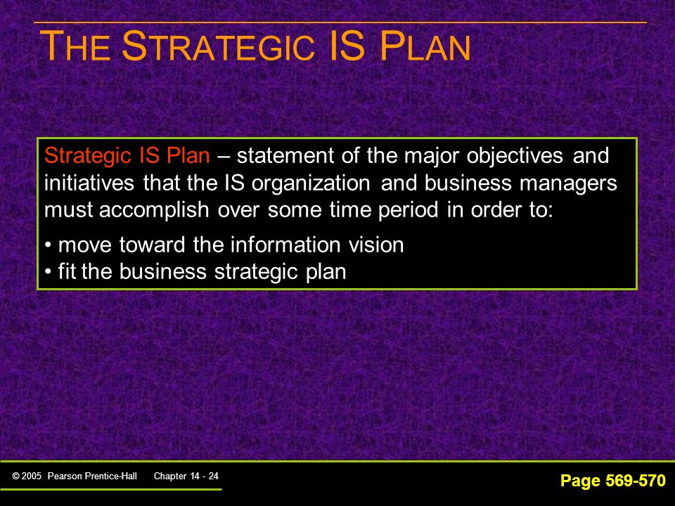 © 2005 Pearson Prentice-Hall Chapter 14 - 23 O UTPUTS OF THE D IRECTION- S ETTING P ROCESS Page 560 Information Resources Plans Strategic IS plan – co
