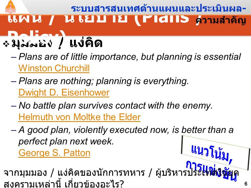 """ความหมาย """" แผน """" – พจนานุกรมฉบับราชบัณฑิตยสถาน พ. ศ. 2542 """" สิ่งที่กำหนดถือเป็นแนวดำเนิน """" – แผนการ = """" แผนตามที่กะกำหนดไว้ """" – แผนงาน = """" แผนที่วางไว"""