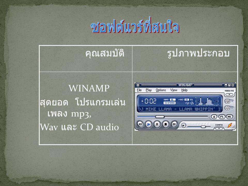 WINAMP สุดยอด โปรแกรมเล่น เพลง mp3, Wav และ CD audio คุณสมบัติ รูปภาพประกอบ