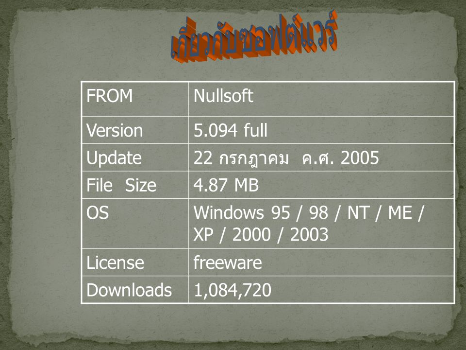 FROMNullsoft Version5.094 full Update 22 กรกฎาคม ค.
