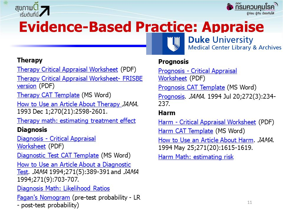 Evidence-Based Practice: Appraise Therapy Therapy Critical Appraisal WorksheetTherapy Critical Appraisal Worksheet (PDF) Therapy Critical Appraisal Worksheet- FRISBE versionTherapy Critical Appraisal Worksheet- FRISBE version (PDF) Therapy CAT TemplateTherapy CAT Template (MS Word) How to Use an Article About Therapy How to Use an Article About Therapy JAMA.