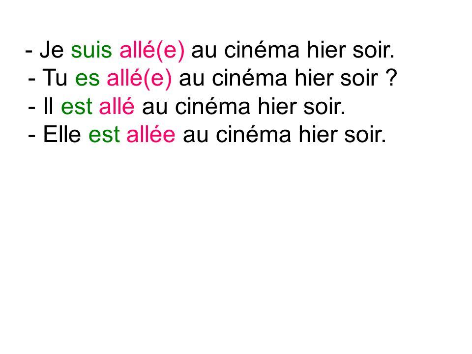 - Je suis allé(e) au cinéma hier soir. - Tu es allé(e) au cinéma hier soir .