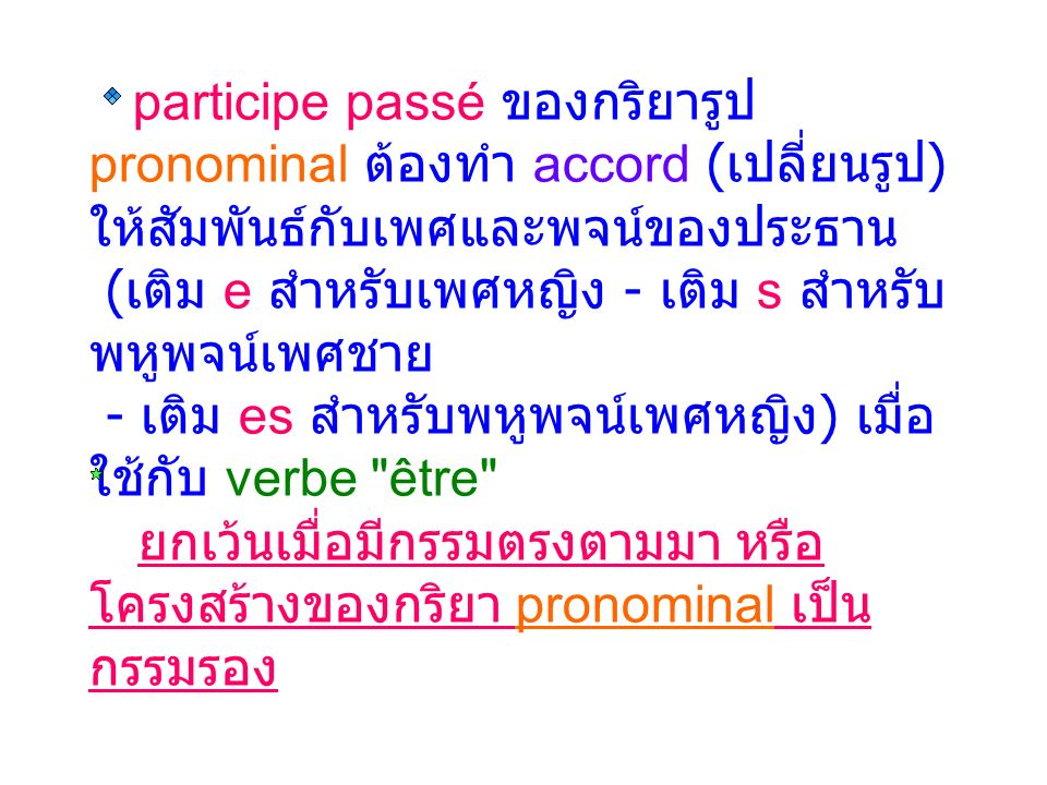 participe passé ของกริยารูป pronominal ต้องทำ accord ( เปลี่ยนรูป ) ให้สัมพันธ์กับเพศและพจน์ของประธาน ( เติม e สำหรับเพศหญิง - เติม s สำหรับ พหูพจน์เพศชาย - เติม es สำหรับพหูพจน์เพศหญิง ) เมื่อ ใช้กับ verbe être ยกเว้นเมื่อมีกรรมตรงตามมา หรือ โครงสร้างของกริยา pronominal เป็น กรรมรอง