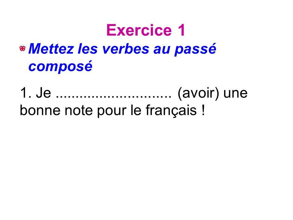 Exercice 1 Mettez les verbes au passé composé 1. Je.............................
