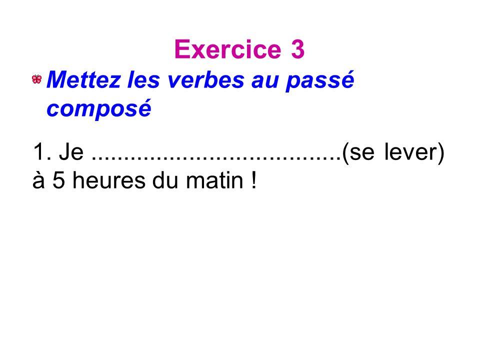 Exercice 3 Mettez les verbes au passé composé 1.