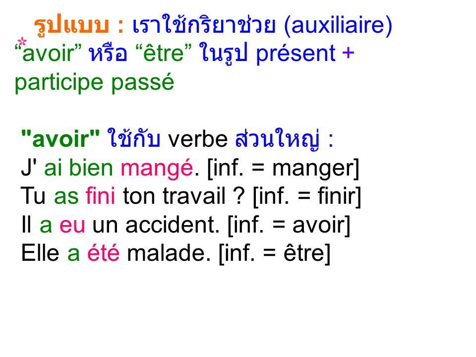 รูปแบบ : เราใช้กริยาช่วย (auxiliaire) avoir หรือ être ในรูป présent + participe passé avoir ใช้กับ verbe ส่วนใหญ่ : J ai bien mangé.