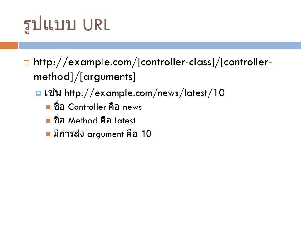รูปแบบ URL  http://example.com/[controller-class]/[controller- method]/[arguments]  เช่น http://example.com/news/latest/10 ชื่อ Controller คือ news ชื่อ Method คือ latest มีการส่ง argument คือ 10