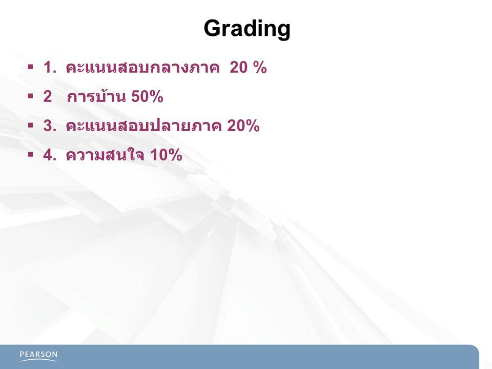Grading  1. คะแนนสอบกลางภาค 20 %  2 การบ้าน 50%  3. คะแนนสอบปลายภาค 20%  4. ความสนใจ 10%