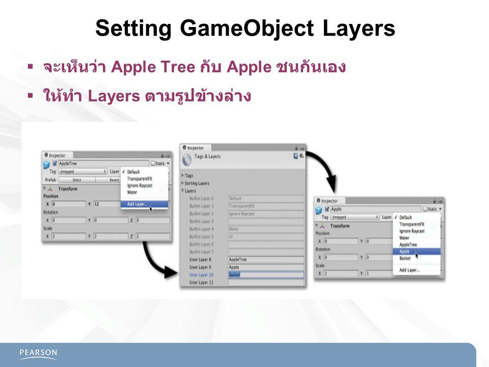 Setting GameObject Layers  จะเห็นว่า Apple Tree กับ Apple ชนกันเอง  ให้ทำ Layers ตามรูปข้างล่าง