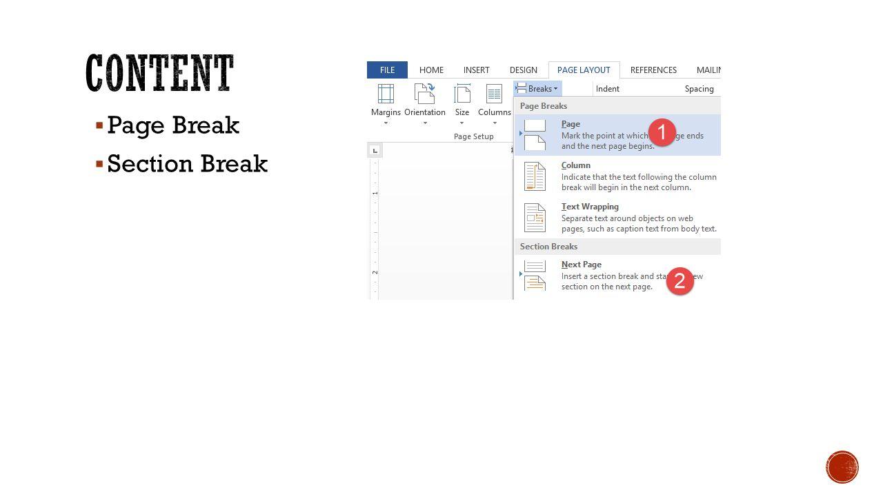  Page Break  Section Break
