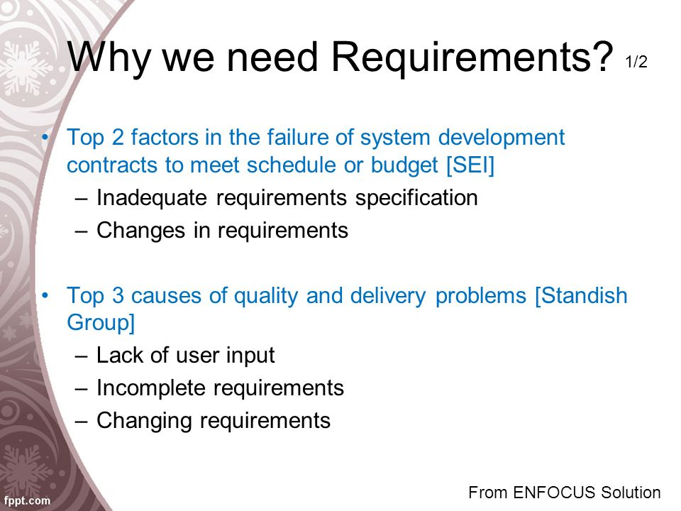 Why we need Requirements? Top 2 factors in the failure of system development contracts to meet schedule or budget [SEI] –Inadequate requirements speci