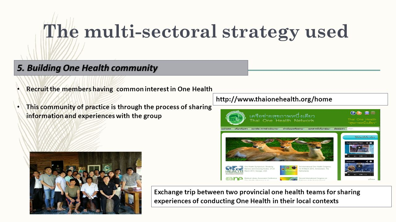 The multi-sectoral strategy used 5. Building One Health community5. Building One Health community Recruit the members having common interest in One He