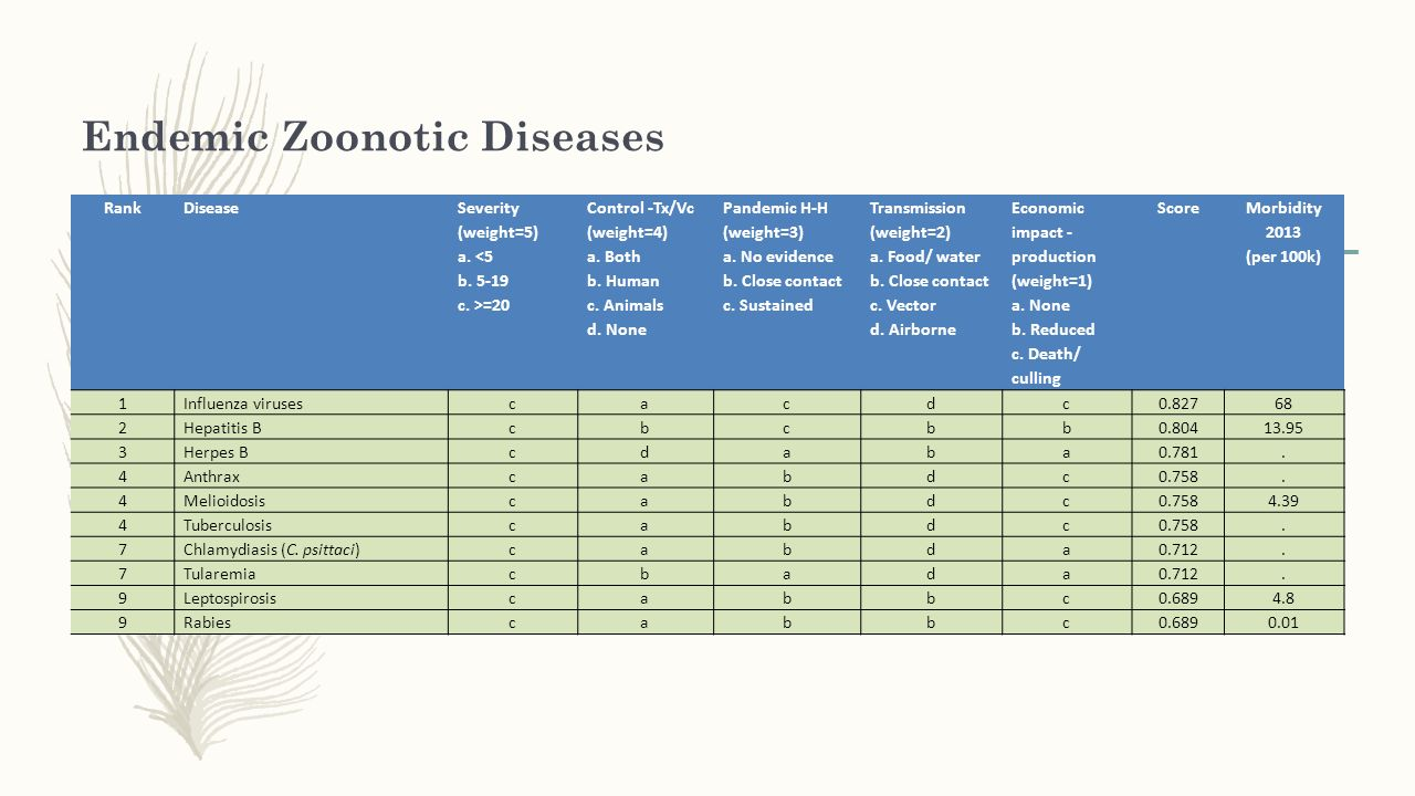 Endemic Zoonotic Diseases RankDisease Severity (weight=5) a. =20 Control -Tx/Vc (weight=4) a. Both b. Human c. Animals d. None Pandemic H-H (weight=3)