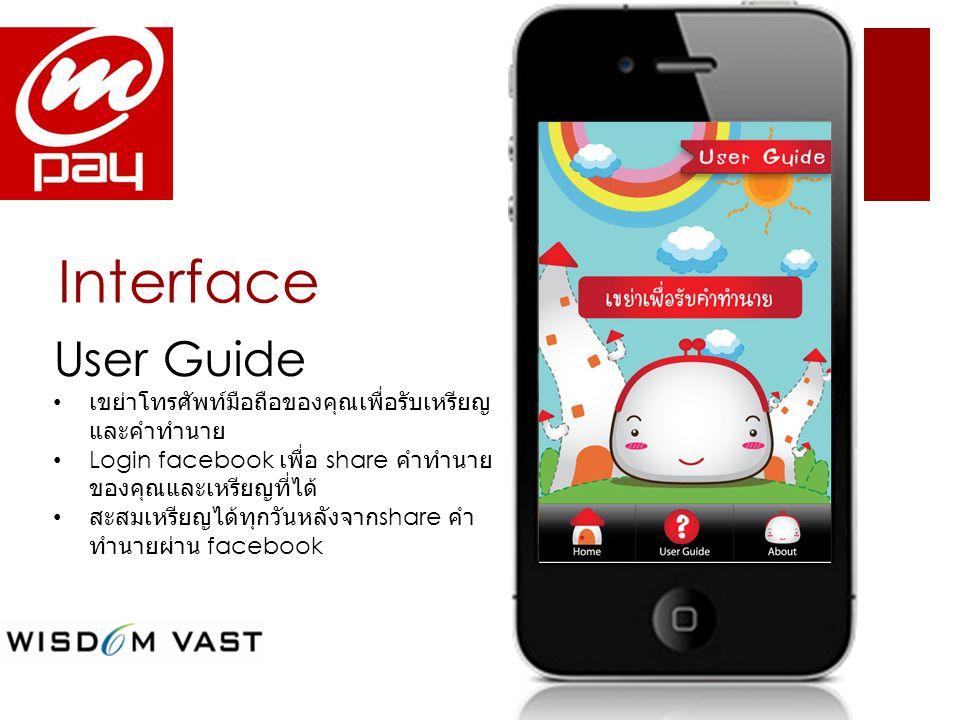 Interface User Guide เขย่าโทรศัพท์มือถือของคุณเพื่อรับเหรียญ และคำทำนาย Login facebook เพื่อ share คำทำนาย ของคุณและเหรียญที่ได้ สะสมเหรียญได้ทุกวันหล