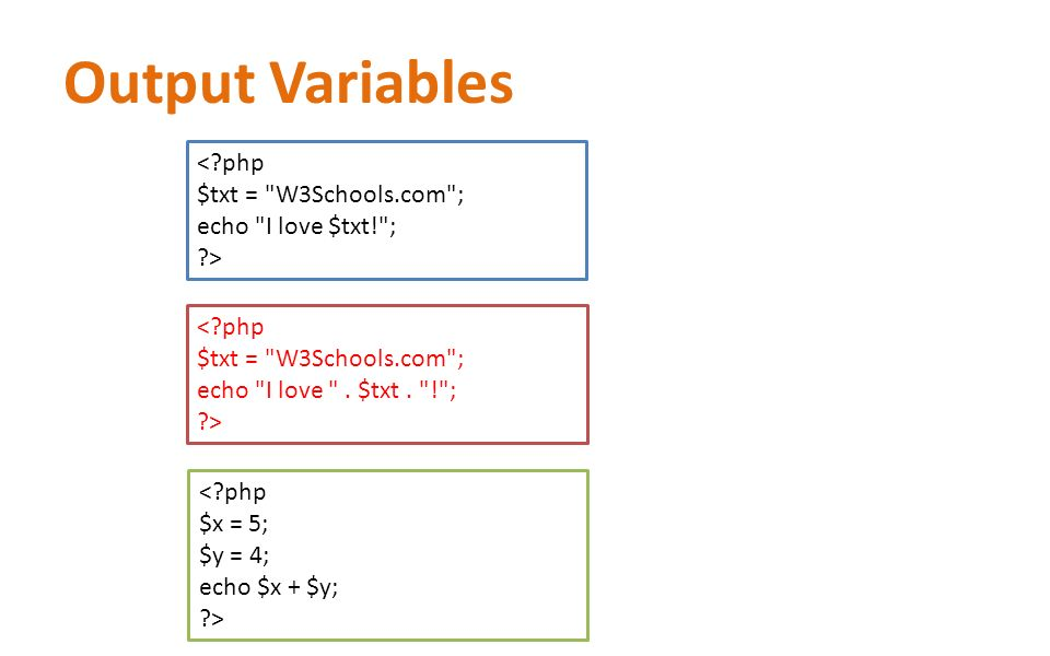 Output Variables <?php $txt =