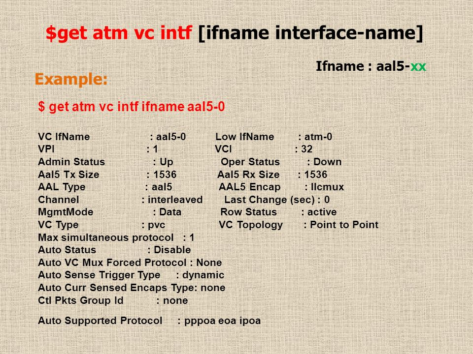 $get atm vc intf [ifname interface-name] Ifname : aal5-xx Example: $ get atm vc intf ifname aal5-0 VC IfName : aal5-0 Low IfName : atm-0 VPI : 1 VCI :