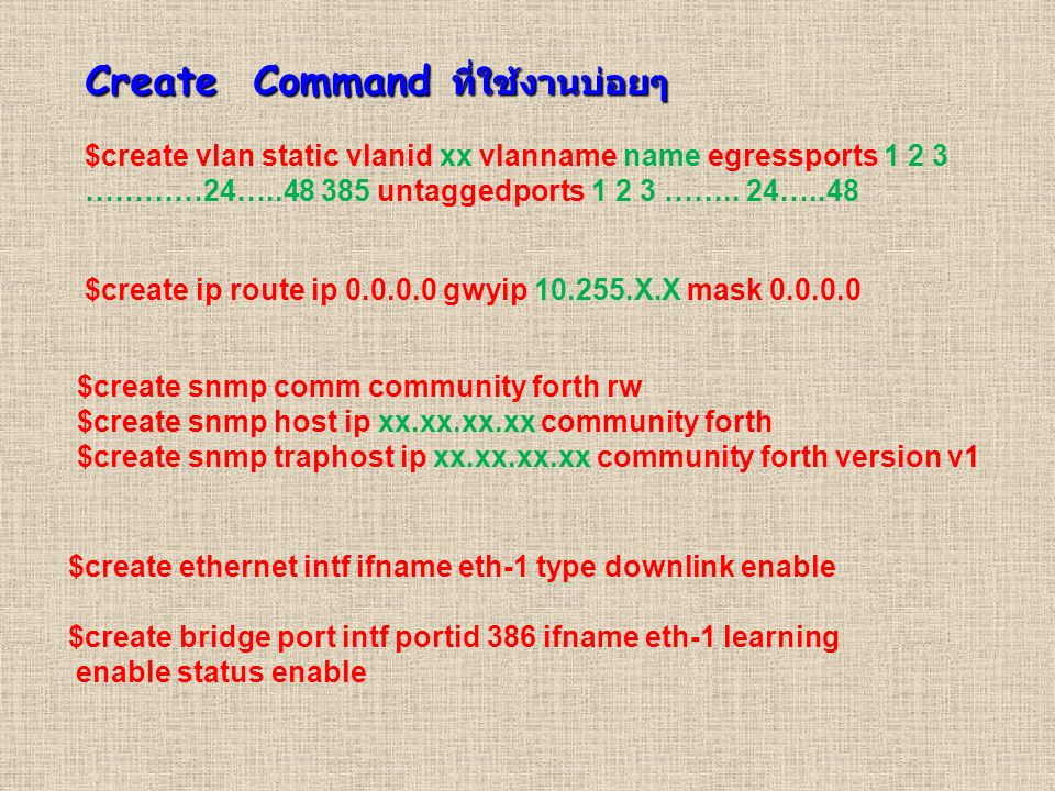 Create Command ที่ใช้งานบ่อยๆ $create vlan static vlanid xx vlanname name egressports 1 2 3 …………24…..48 385 untaggedports 1 2 3 …….. 24…..48 $create i