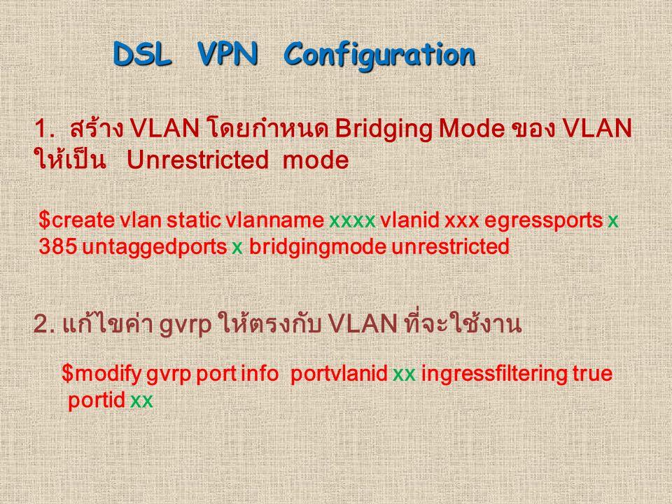 DSL VPN Configuration 1. สราง VLAN โดยกำหนด Bridging Mode ของ VLAN ใหเปน Unrestricted mode $create vlan static vlanname xxxx vlanid xxx egressports