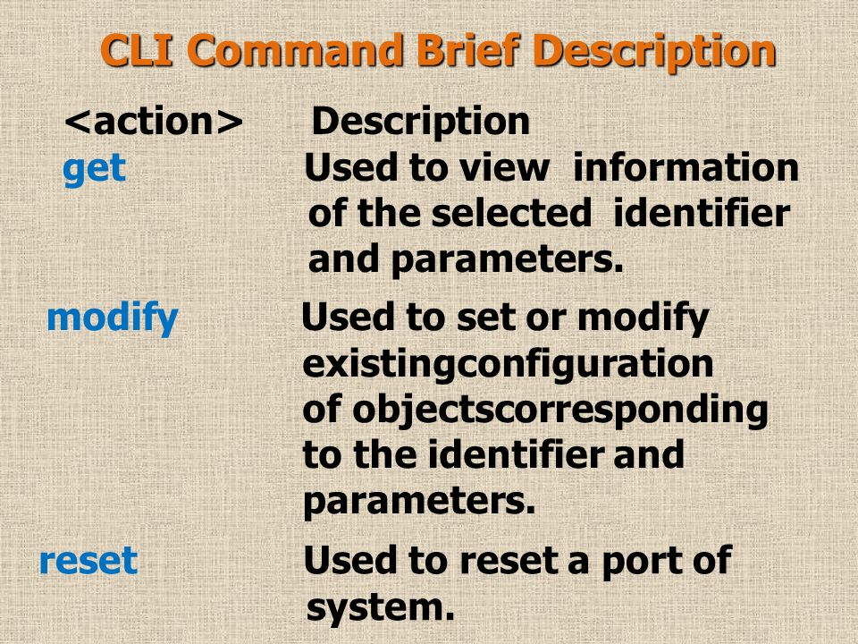 Description Description Create Used to create configuration of objects corresponding to the identifier and parameters.