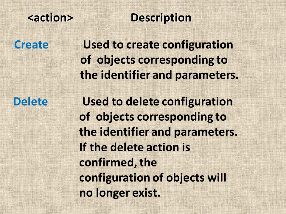 Description Description Create Used to create configuration of objects corresponding to the identifier and parameters. Delete Used to delete configura