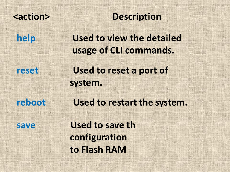help Used to view the detailed usage of CLI commands. reset Used to reset a port of system. reboot Used to restart the system. save Used to save th co