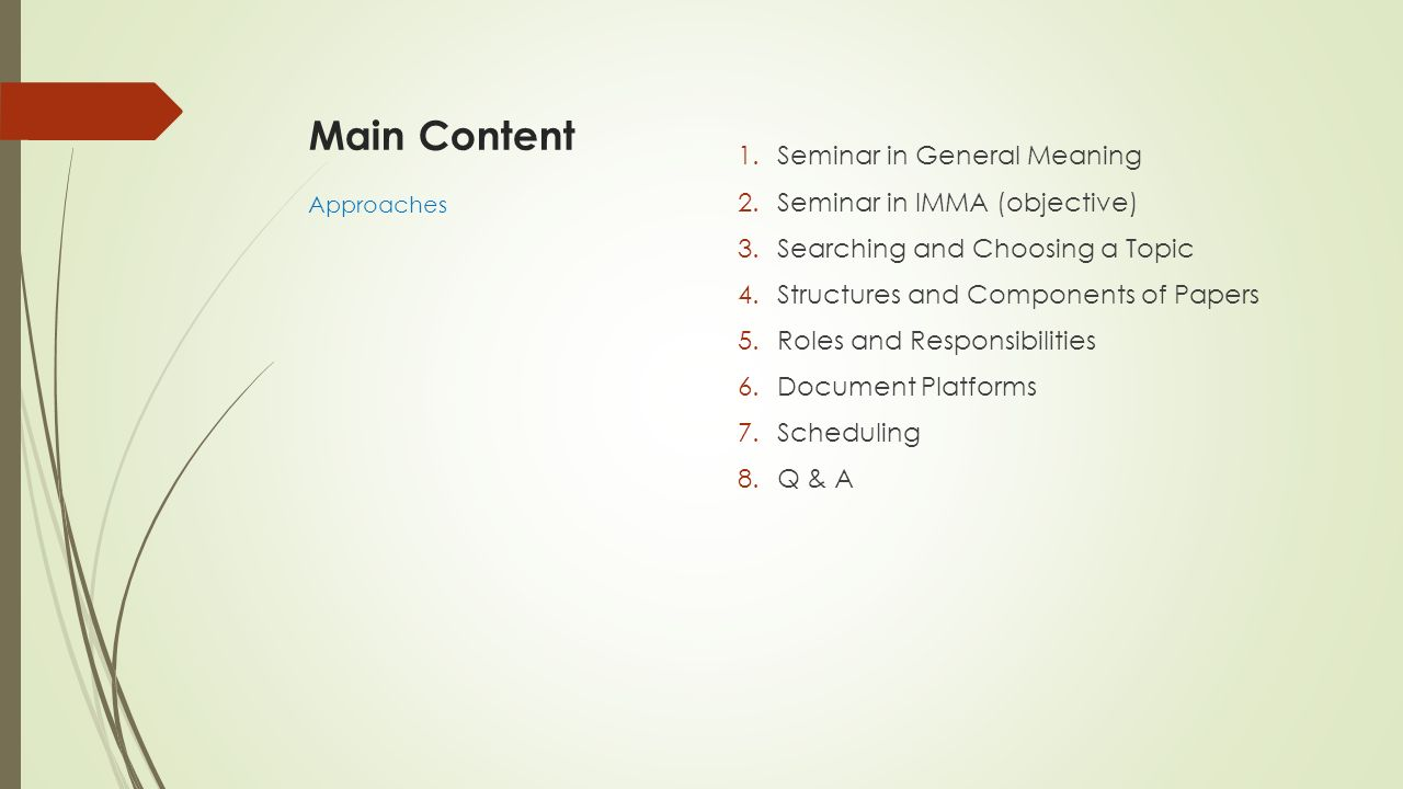 1 Seminar in General Meaning Definition Objective VDO