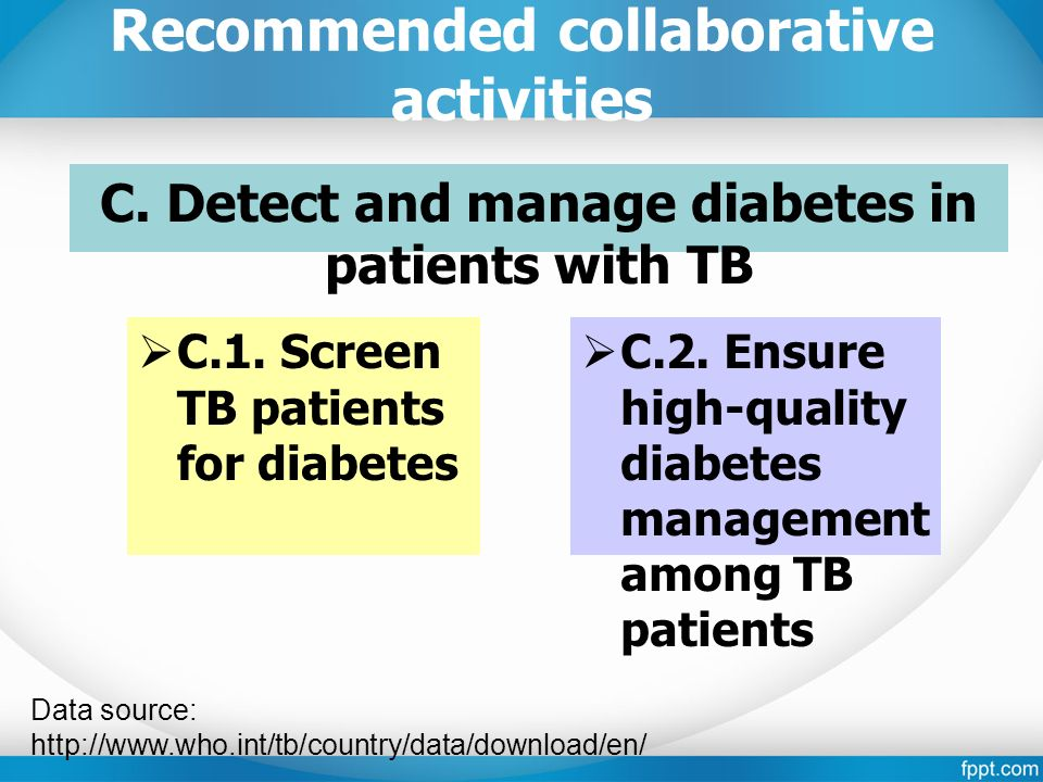 Recommended collaborative activities C. Detect and manage diabetes in patients with TB  C.1.