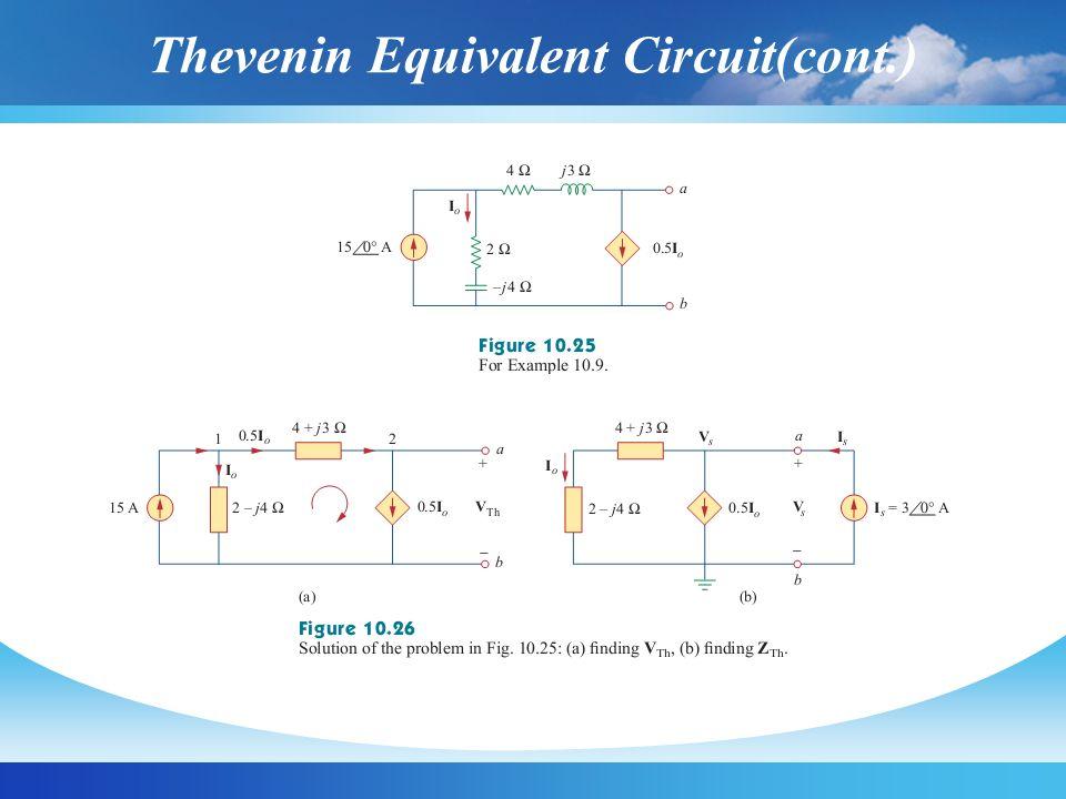 Thevenin Equivalent Circuit(cont.)