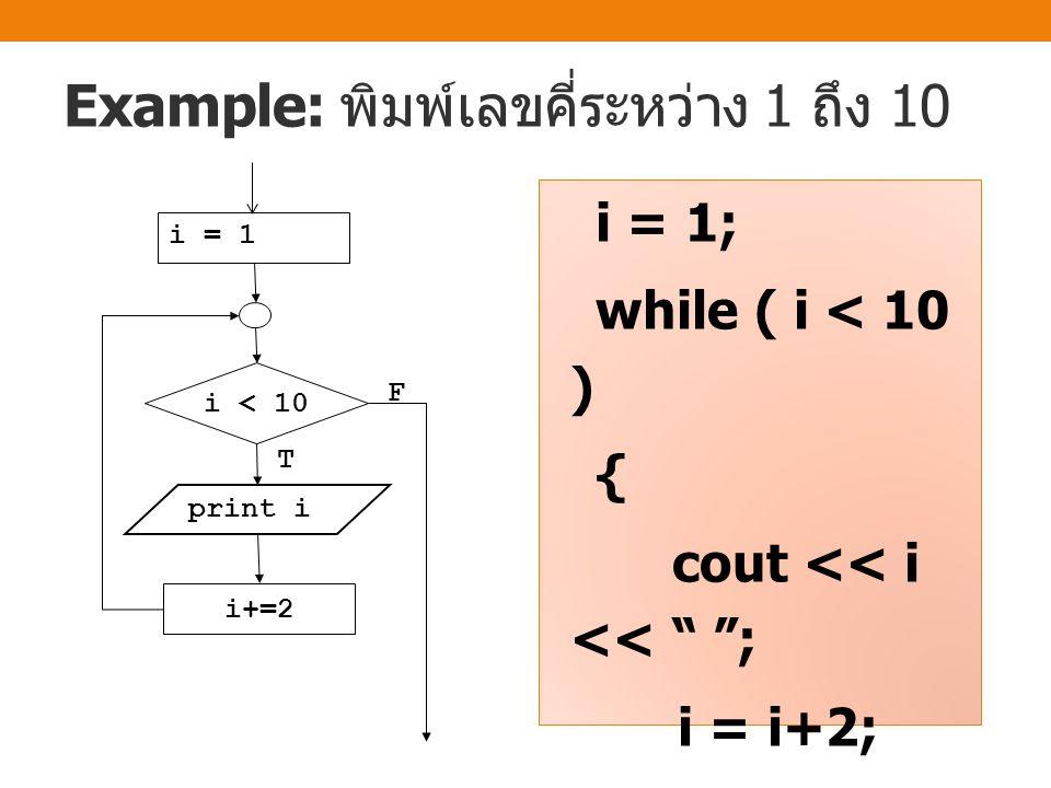 Example: หาผลรวมของเลข 1 ถึง 10 sum = 0; i = 1; while ( i <= 10 ) { sum += i; i++; } cout << sum << endl; i=i+1 sum = sum+i i = 1 sum = 0 T F i<=10