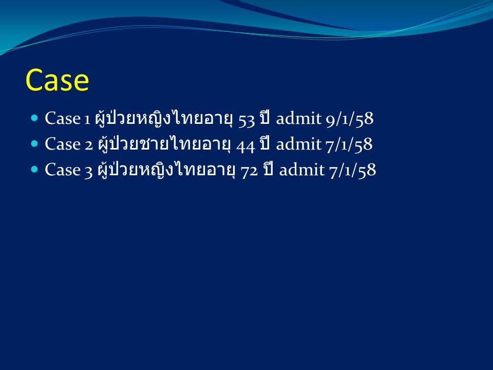 Case Case 1 ผู้ป่วยหญิงไทยอายุ 53 ปี admit 9/1/58 Case 2 ผู้ป่วยชายไทยอายุ 44 ปี admit 7/1/58 Case 3 ผู้ป่วยหญิงไทยอายุ 72 ปี admit 7/1/58