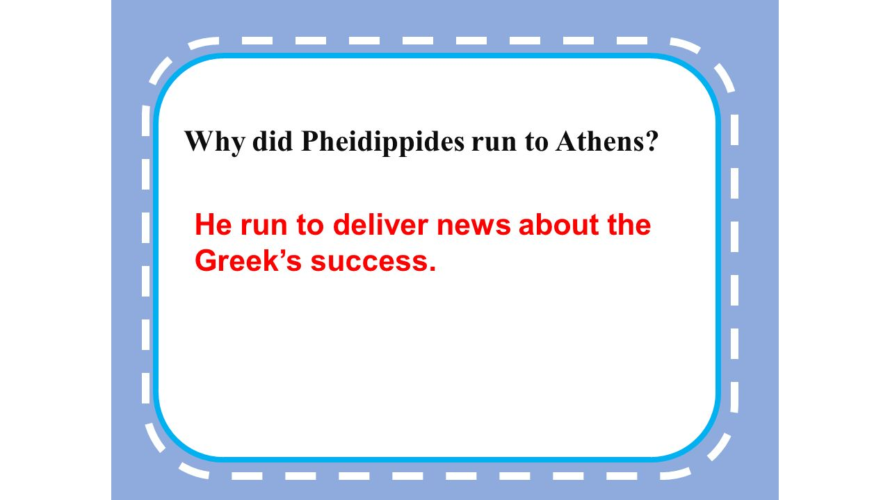 1 Who did the marathon commemorate to Pheidippides