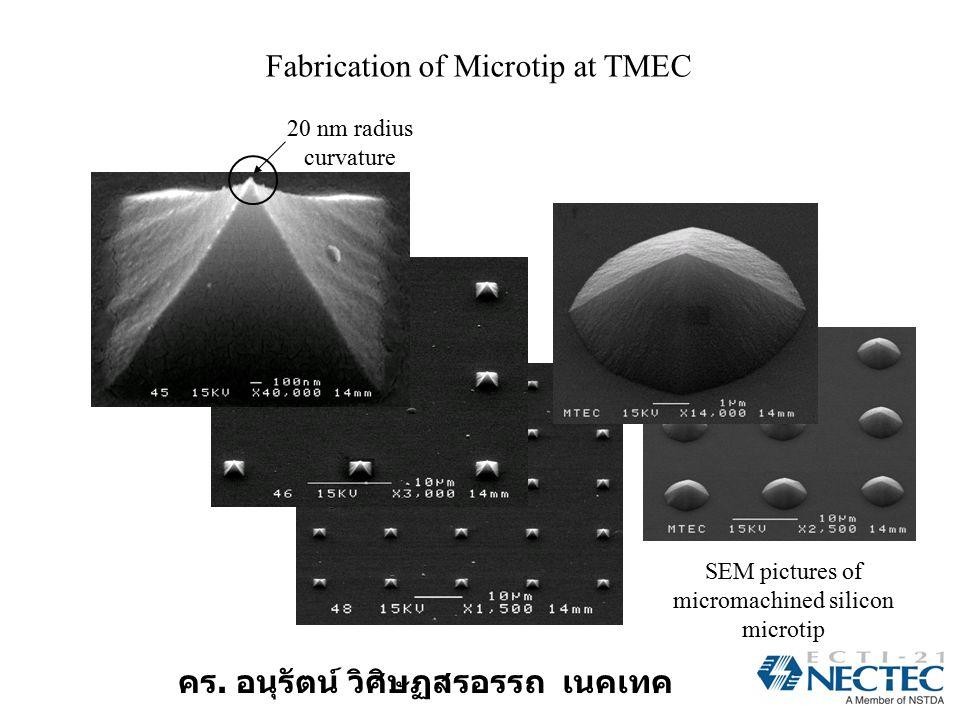 คร. อนุรัตน์ วิศิษฏสรอรรถ เนคเทค Fabrication of Microtip at TMEC SEM pictures of micromachined silicon microtip 20 nm radius curvature