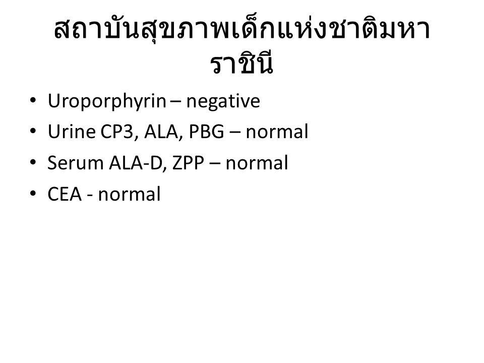 Uroporphyrin – negative Urine CP3, ALA, PBG – normal Serum ALA-D, ZPP – normal CEA - normal สถาบันสุขภาพเด็กแห่งชาติมหา ราชินี