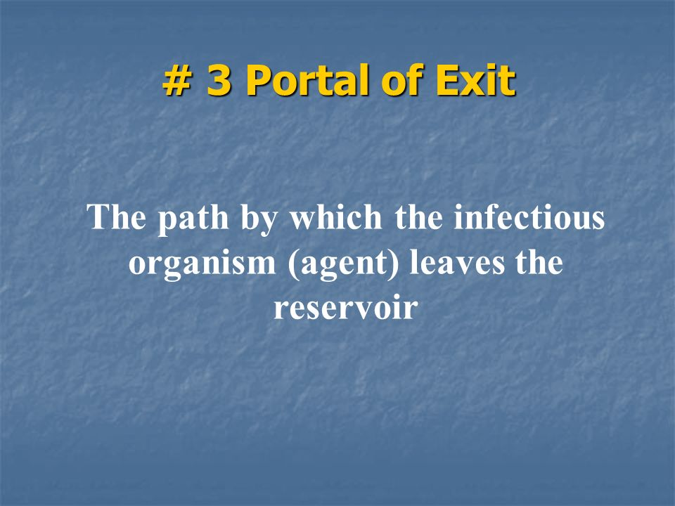 # 3 Portal of Exit The path by which the infectious organism (agent) leaves the reservoir