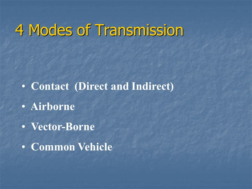 4 Modes of Transmission Contact (Direct and Indirect) Airborne Vector-Borne Common Vehicle