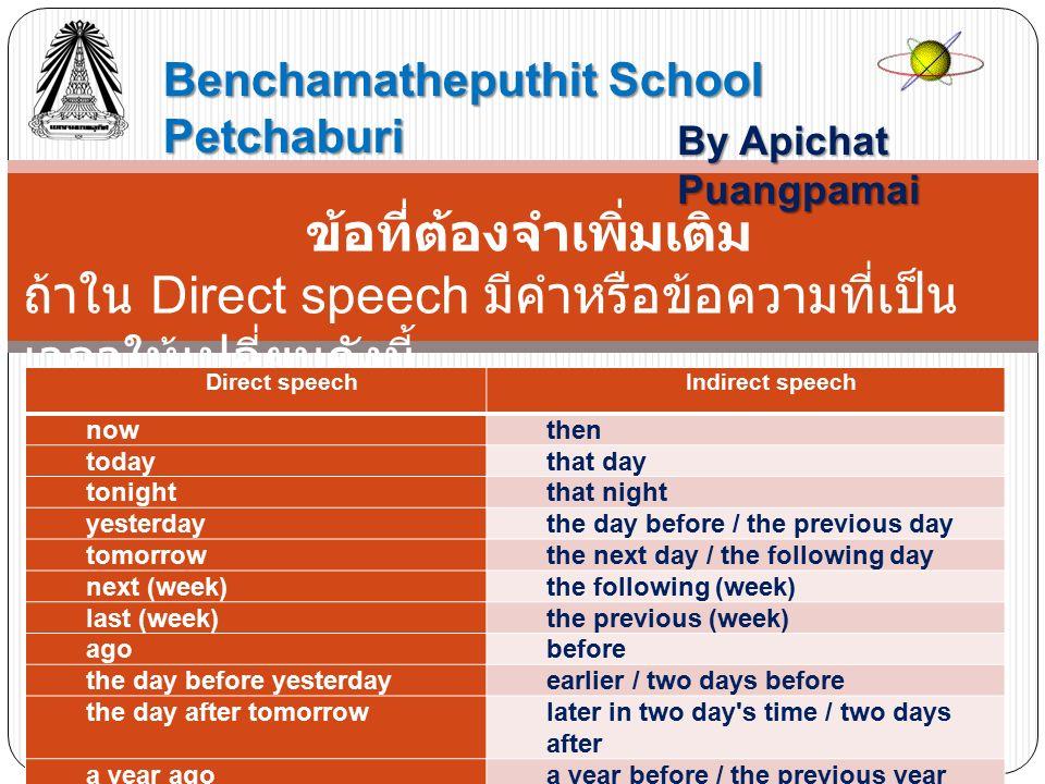 Benchamatheputhit School Petchaburi By Apichat Puangpamai ข้อที่ต้องจำเพิ่มเติม ถ้าใน Direct speech มีคำหรือข้อความที่เป็น เวลาให้เปลี่ยนดังนี้ Direct speechIndirect speech nowthen todaythat day tonightthat night yesterdaythe day before / the previous day tomorrowthe next day / the following day next (week)the following (week) last (week)the previous (week) agobefore the day before yesterdayearlier / two days before the day after tomorrowlater in two day s time / two days after a year agoa year before / the previous year