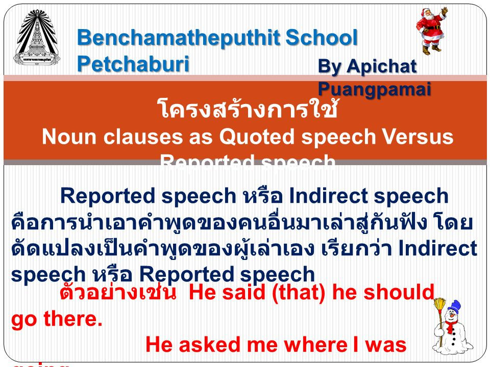 Benchamatheputhit School Petchaburi By Apichat Puangpamai โครงสร้างการใช้ Noun clauses as Quoted speech Versus Reported speech Reported speech หรือ In