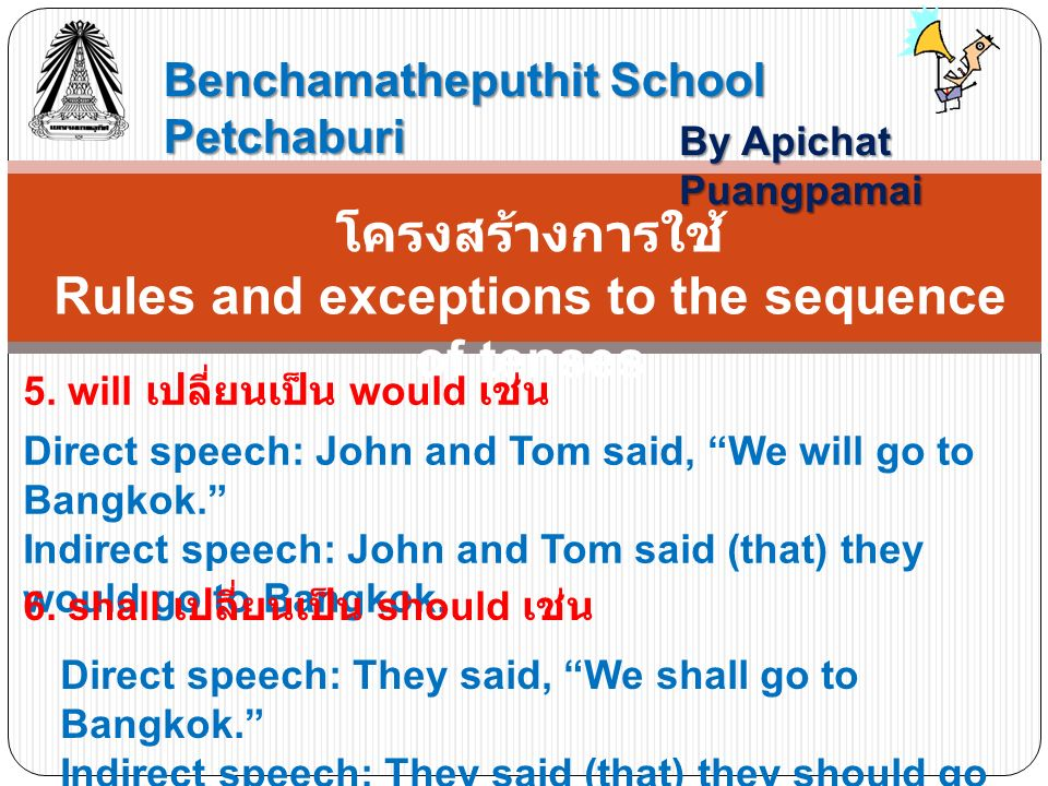 Benchamatheputhit School Petchaburi By Apichat Puangpamai โครงสร้างการใช้ Rules and exceptions to the sequence of tenses 5.