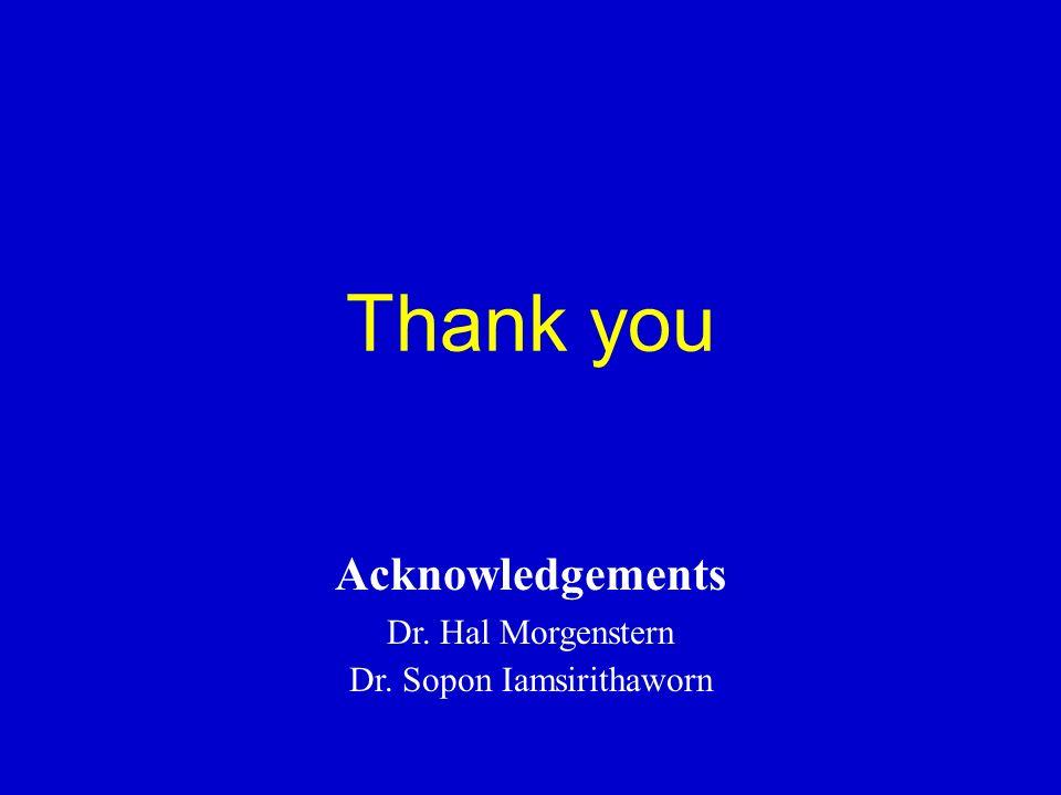 Thank you Acknowledgements Dr. Hal Morgenstern Dr. Sopon Iamsirithaworn