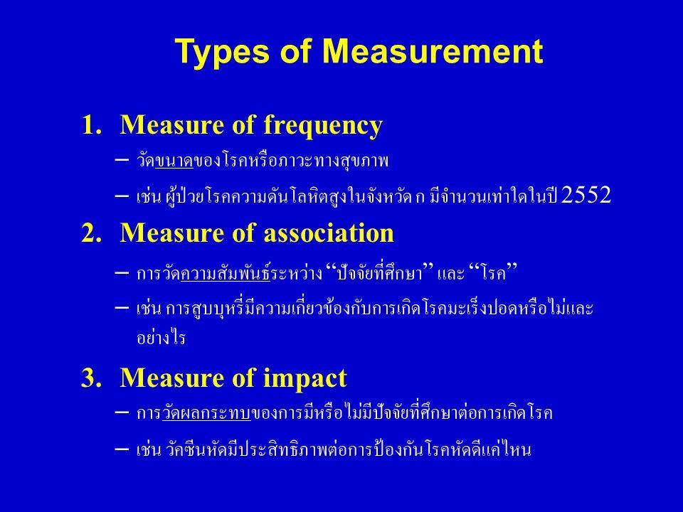 Types of Measurement 1.Measure of frequency – วัดขนาดของโรคหรือภาวะทางสุขภาพ – เช่น ผู้ป่วยโรคความดันโลหิตสูงในจังหวัด ก มีจำนวนเท่าใดในปี 2552 2.Meas