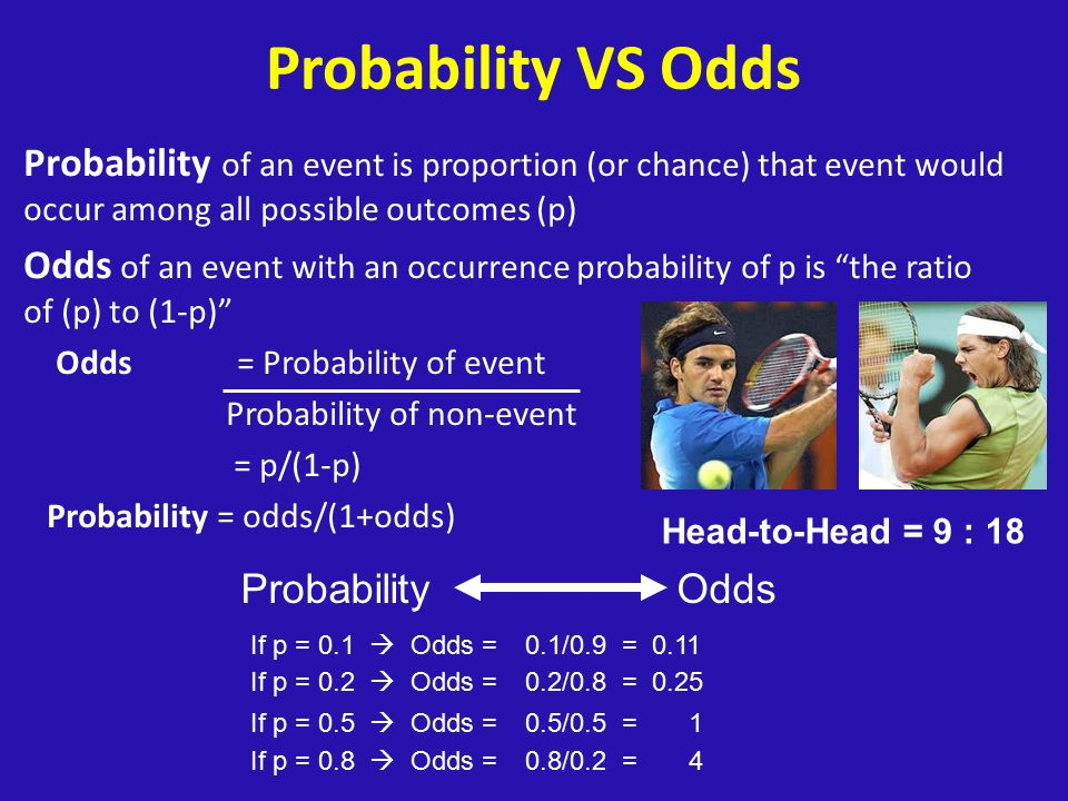 Probability VS Odds Probability of an event is proportion (or chance) that event would occur among all possible outcomes (p) Odds of an event with an