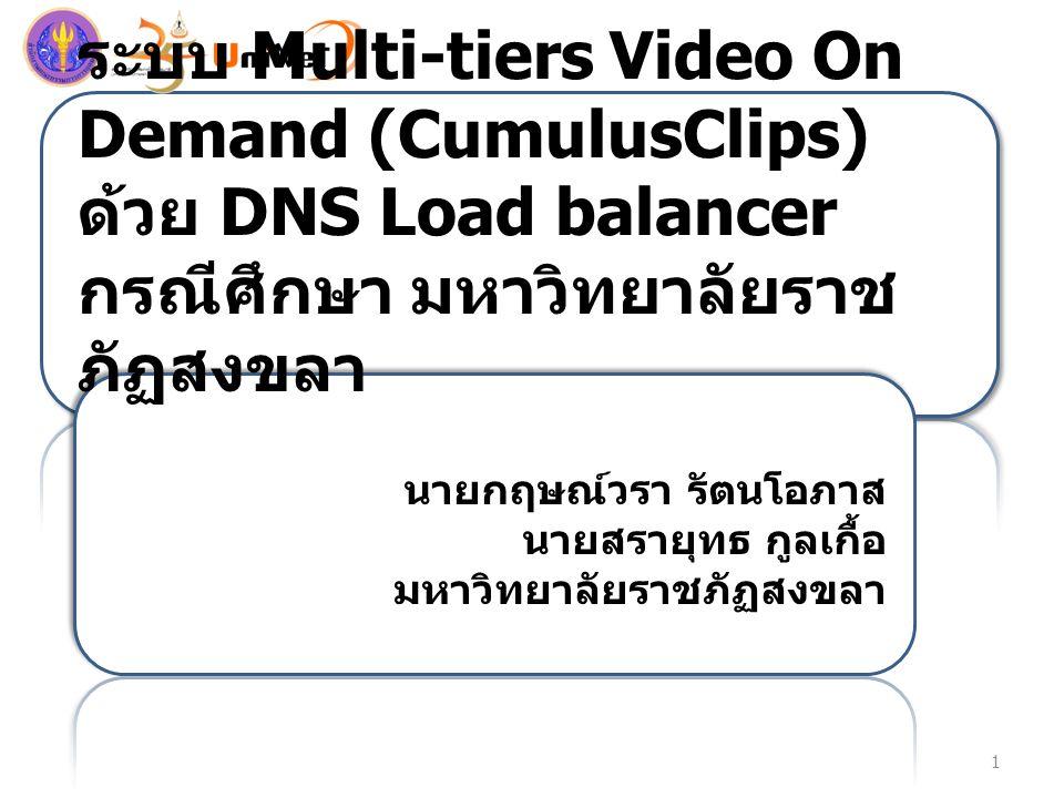 ระบบ Multi-tiers Video On Demand (CumulusClips) ด้วย DNS Load balancer กรณีศึกษา มหาวิทยาลัยราช ภัฏสงขลา นายกฤษณ์วรา รัตนโอภาส นายสรายุทธ กูลเกื้อ มหาวิทยาลัยราชภัฏสงขลา 1
