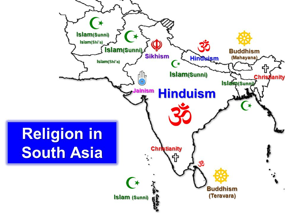 Hinduism พราหมณ์ - ฮินดู อิสลาม (Islam) ส่วนใหญ่นิกายสุน นี่ (Sunni) ส่วนน้อยนิกาย ชีอะห์ (Shi'a) ซิกข์ (Sikhism) พุทธ (Budd hism) คริสต์ (Chri stianity) เชน (Jai nism)