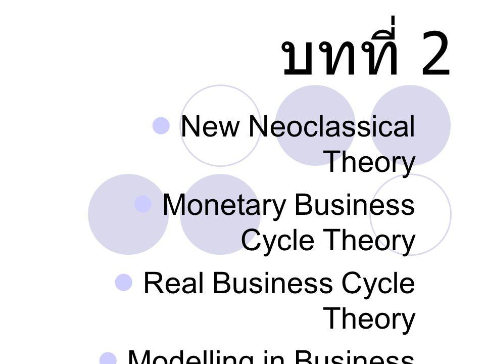 บทที่ 2 New Neoclassical Theory Monetary Business Cycle Theory Real Business Cycle Theory Modelling in Business Cycle Theory Leading Indicator
