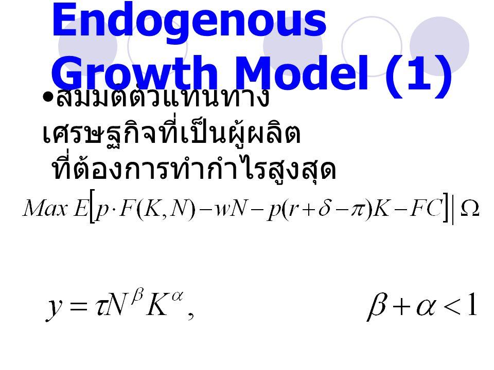 สมมติตัวแทนทาง เศรษฐกิจที่เป็นผู้ผลิต ที่ต้องการทำกำไรสูงสุด Endogenous Growth Model (1)