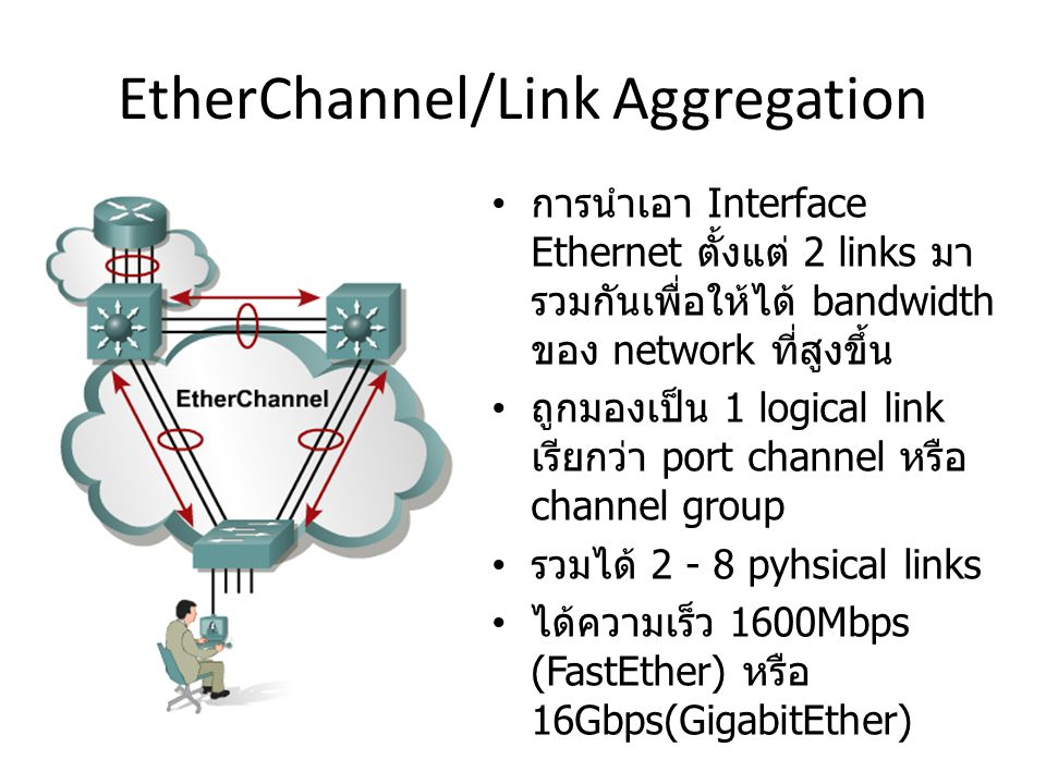 ประเภทการทำ Etherchannel Layer2 ระหว่าง 2 switches Layer3 ระหว่าง 2 routers ( หรือ Switch L3 ขึ้นไป ) ระหว่าง switch และ server ซึ่งมี NIC teaming PAgP Cisco proprietary LACP IEEE standard 802.3ad Use in mixed switch environment Negotiation Protocols