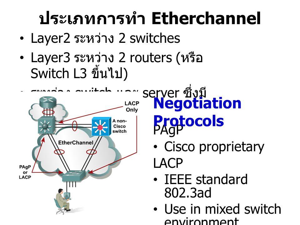 ประเภทการทำ Etherchannel Layer2 ระหว่าง 2 switches Layer3 ระหว่าง 2 routers ( หรือ Switch L3 ขึ้นไป ) ระหว่าง switch และ server ซึ่งมี NIC teaming PAgP Cisco proprietary LACP IEEE standard 802.3ad Use in mixed switch environment Negotiation Protocols