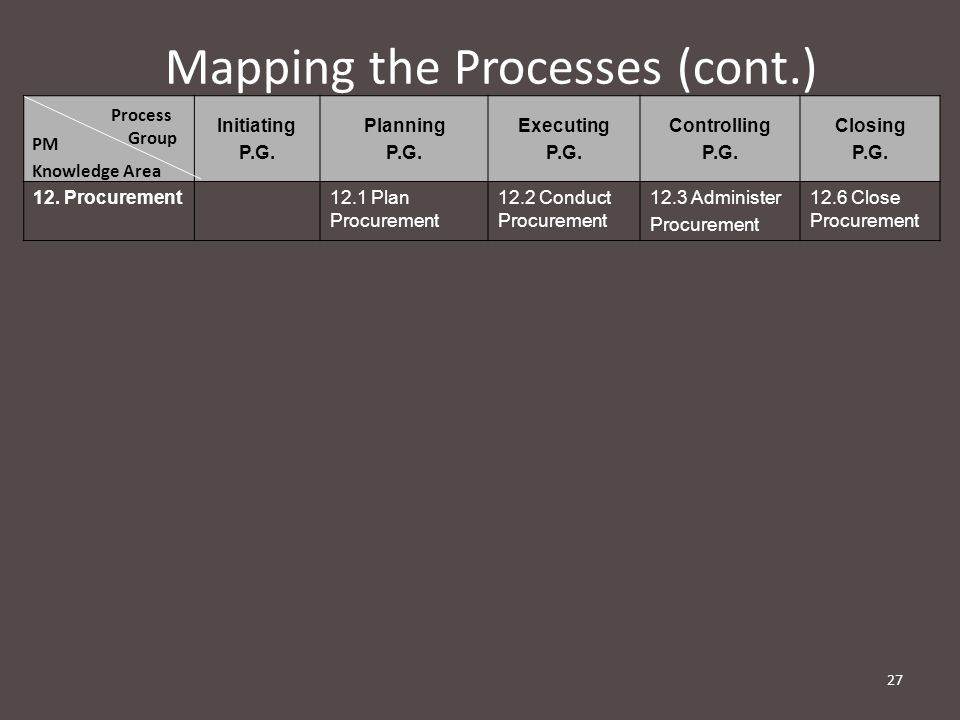 Mapping the Processes (cont.) Initiating P.G.Planning P.G.